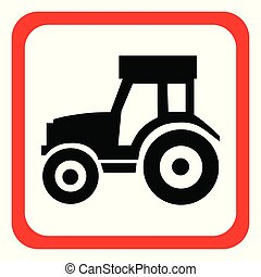 Icon tractor on white background. Vector illustration.