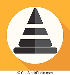 Icon traffic cones on white circle with a long shadow