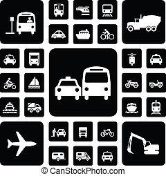 Icon traffic set black and white
