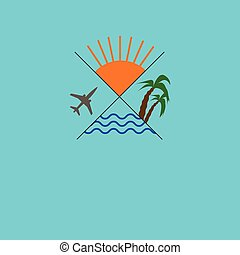 Icon traveling. Logo travel agency. Palm, sun, sea, plane. Vector illustration.