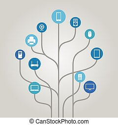 Icon tree illustration - devices