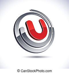icon., u, letra, 3d