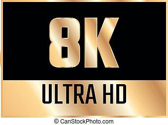 icon., uhd, tv, 8k, hd, ベクトル, シンボル, ultra