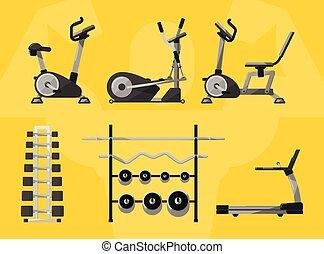 icon., vecteur, équipement salle gymnastique, isolé