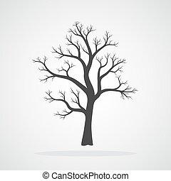 icon., vecteur, arbre, illustration.
