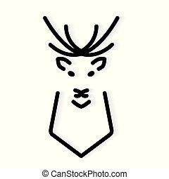 icon-, vecteur, cerf, illustration, ramure