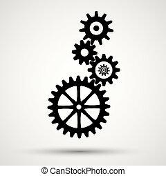 icon., vecteur, engrenage, illustration