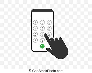 icon., vecteur, illustration, smartphone, plat, main, ...