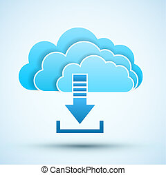 icon., vecteur, nuage, illustration