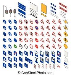 icon., vecteur, panneaux signalisations