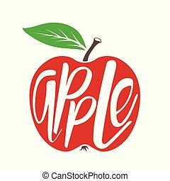 icon., vecteur, pomme, rouges
