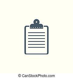 icon., vecteur, presse-papiers, apparenté, glyph