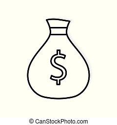 icon-, vecteur, sac, illustration, argent