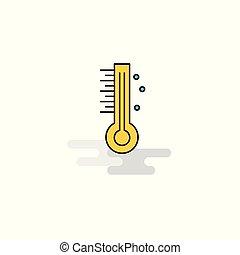 icon., vecteur, thermomètre, plat