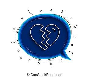 icon., vector, arriba, divorcio, signo., interrupción, línea de amor