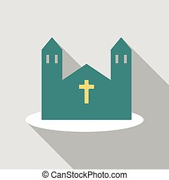 icon., vector, caricatura, ilustración, iglesia
