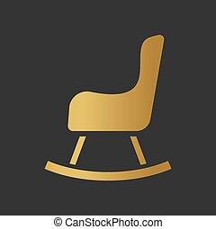 icon-, vector, mecedor, ilustración, silla, dorado