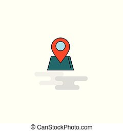 icon., vector, plat, plaats