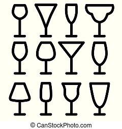 icon-, vector, set, illustratie, wijnglasen