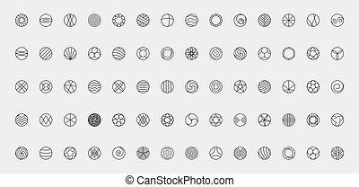 Icon vector symbol set. Round sign web button. Circle abstract logo flat design.