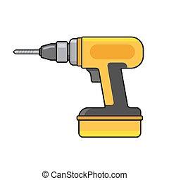 icon., vector, taladro eléctrico, mano