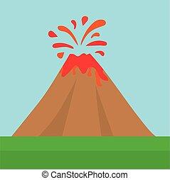 icon-, vektor, ábra, kibújik vulkán