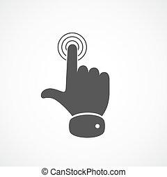 icon., vektor, berührende hand, illustration.