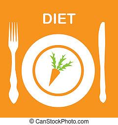 icon., vektor, diéta, ábra