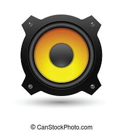 icon., vektor, högtalare, illustration.