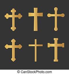icon-, vektor, kristen, sätta, gyllene, kors, illustration
