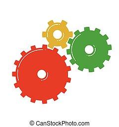 icon., vektor, színes, fogaskerék-áttétel, ábra