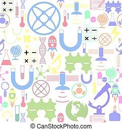 icon., vetenskap, bakgrund, seamless, mönster