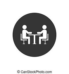 icon., vetorial, ícone, conference., tabela, pessoas, dois
