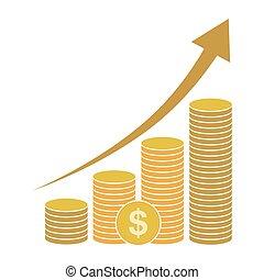 icon., vetorial, dólar, illustration., ouro