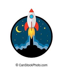 icon., vetorial, illustration., lançamento foguete