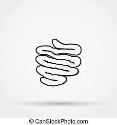 icon., vetorial, intestino delgado