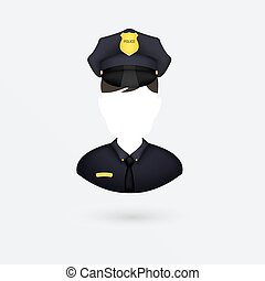 icon., vetorial, isolado, white., policial