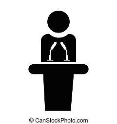 icon., vettore, altoparlante, illustrazione