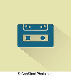 icon., vettore, cassetta, retro, audio