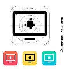 icon., vettore, computer, cpu, illustration.