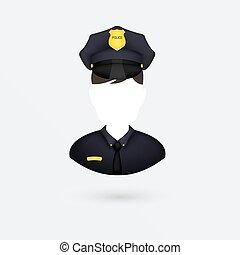 icon., vettore, isolato, white., poliziotto