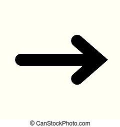 icon., vettore, nero, freccia destra, simbolo.