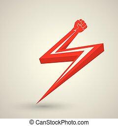 icon., vettore, rivoluzione, fist., pugno