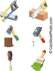 icon., vettore, set, tools.