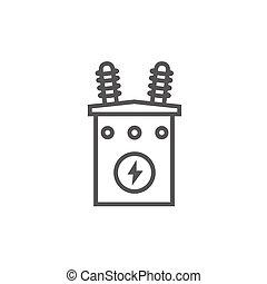 icon., voltaje, línea, alto, transformador