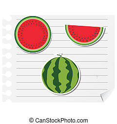 Icon watermelon on a blank notepad vector illustration design element