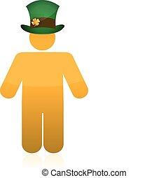 icon wearing a irish green hat