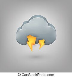 Icon weather. Cloud lightning