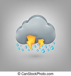 Icon weather. Rain cloud lightning