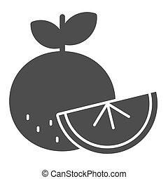icon., web, stijl, pictogram, rijp, bladeren, graphics., concept, vitamine, beweeglijk, schets, vast lichaam, snede, lijn, winter, witte , fruit, design., vector, achtergrond., vers oranje, sinaasappel
